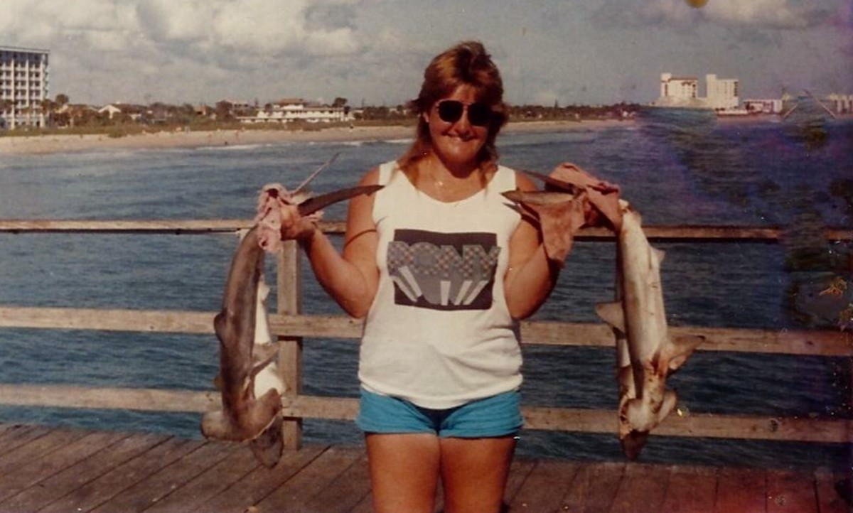 I hooked six hammerhead sharks this day and threw two back.