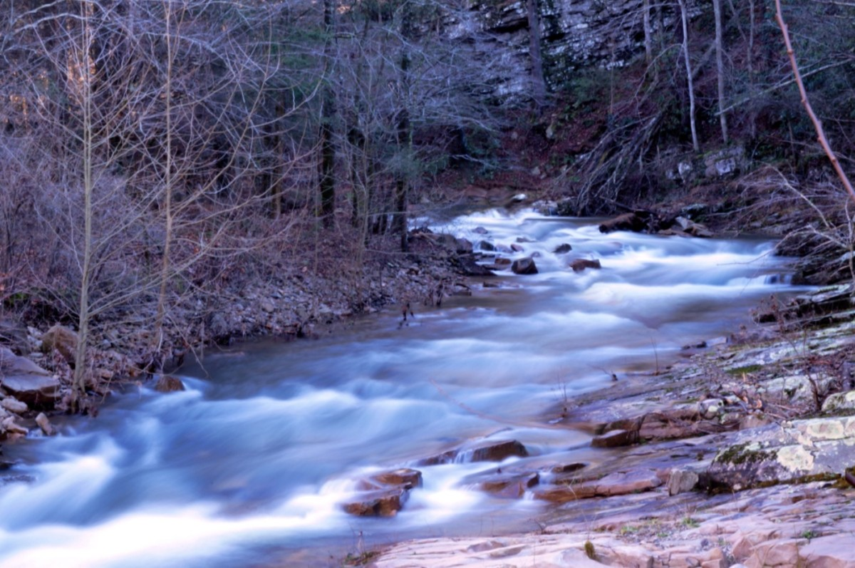 A side river behind Paint Rock.  I took this photo as an experiment with water photography.  I was quite pleased.