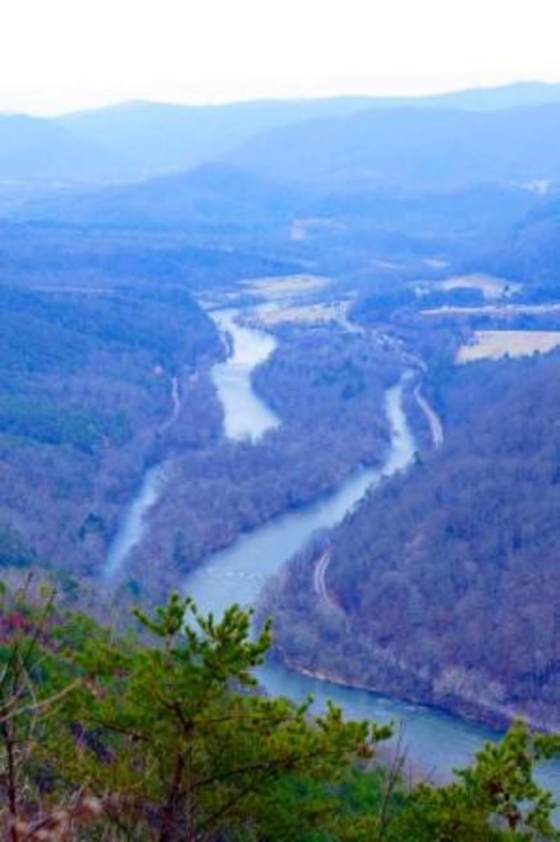 The view near the end of Paint Rock Trail.  You can see the French Broad River - especially in winter.