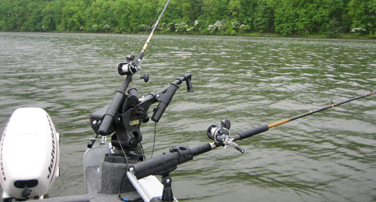 Trolling on a downrigger, seen here, is the most effective way to get your lure down in front of the fish
