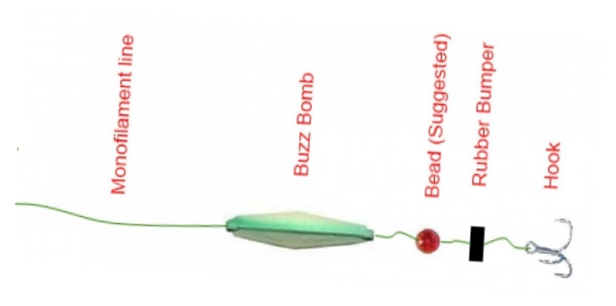 "If you want to prevent the Buzz Bomb from sliding too far away from the hook, a swivel and second bead can be tied 16 - 20"" above your hook, with the Buzz Bomb sliding in between."