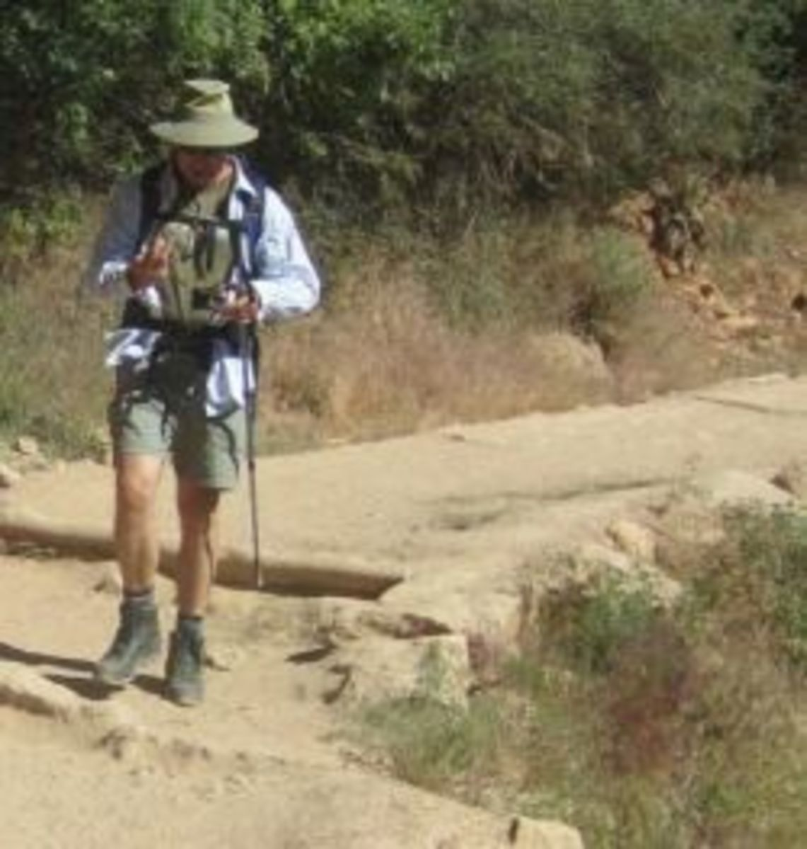 A hiker on the Bright Angel Trail