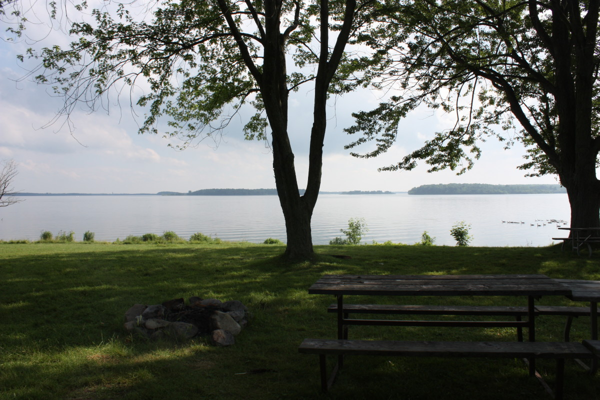 View of the St. Lawrence from Woodlands Picnic area.