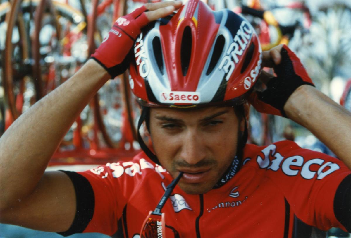 Saeco Cannondale rider Gian Matteo Fagnini in the famous Ferrari red strip of the team.