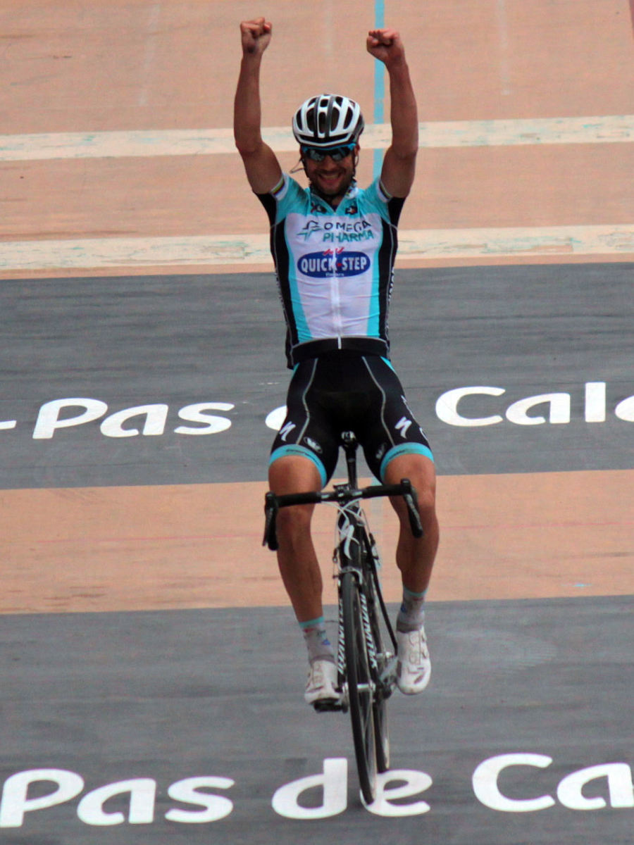 Tom Boonen in the 2012 Omega Pharma- Quickstep cycling team kit.