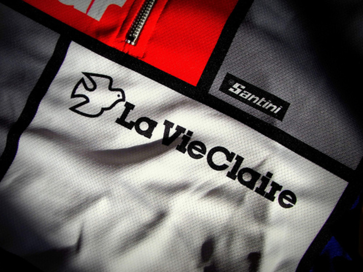The Mondrian art inspired La Vie Claire cycling kit was a Tour De France classic