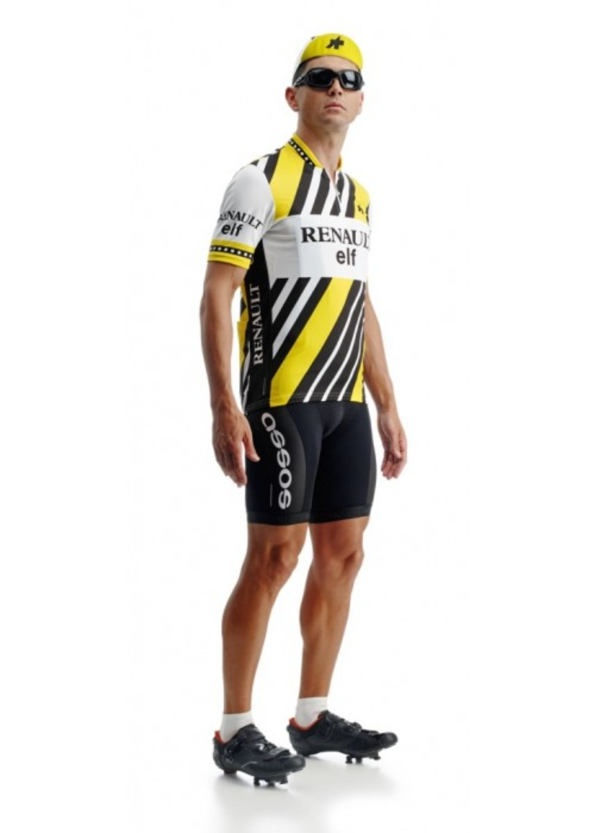 The Assos heritage Renault Elf cycling jersey is a modern recreation of a Tour De France classic jersey