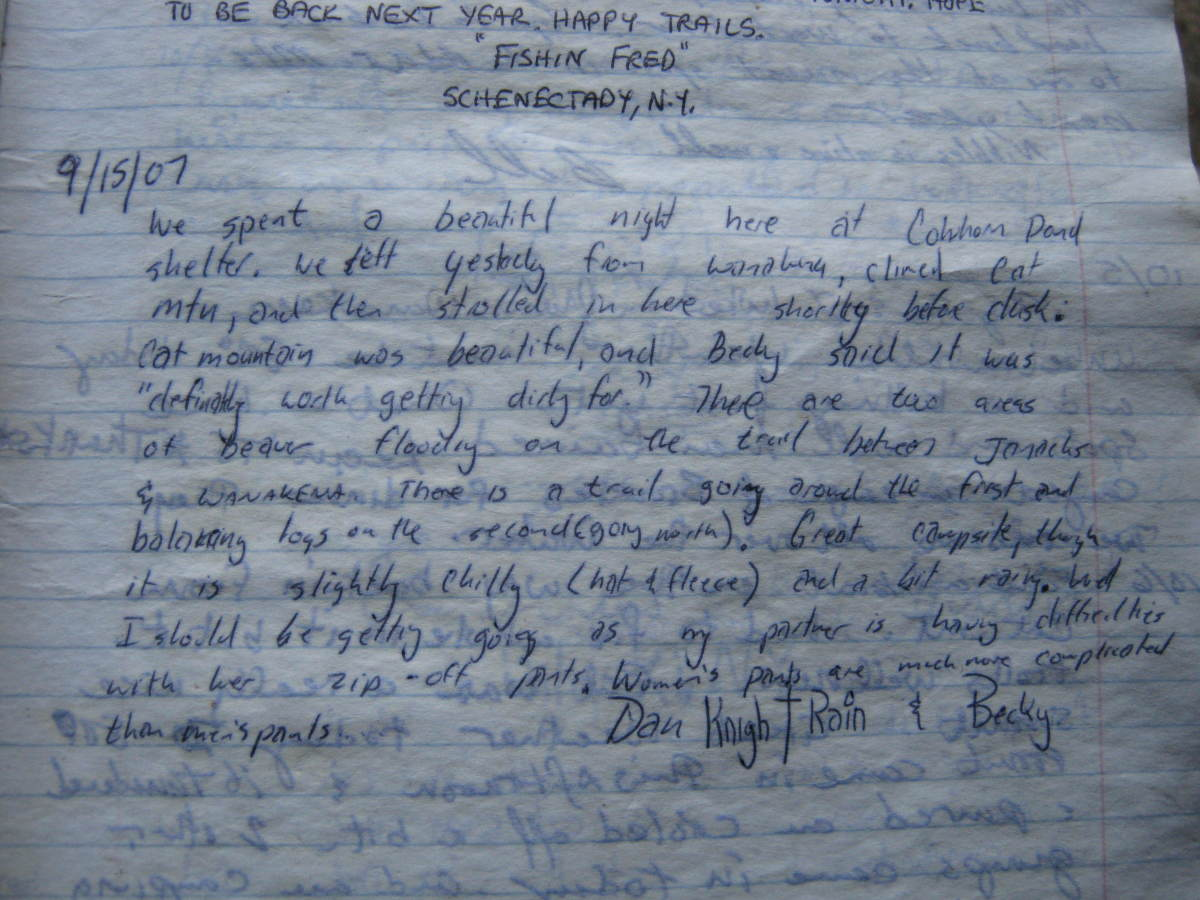 I found a previous register posting I made after returning to the Cowhorn Pond lean-to several years later.  The transcript is to the left.
