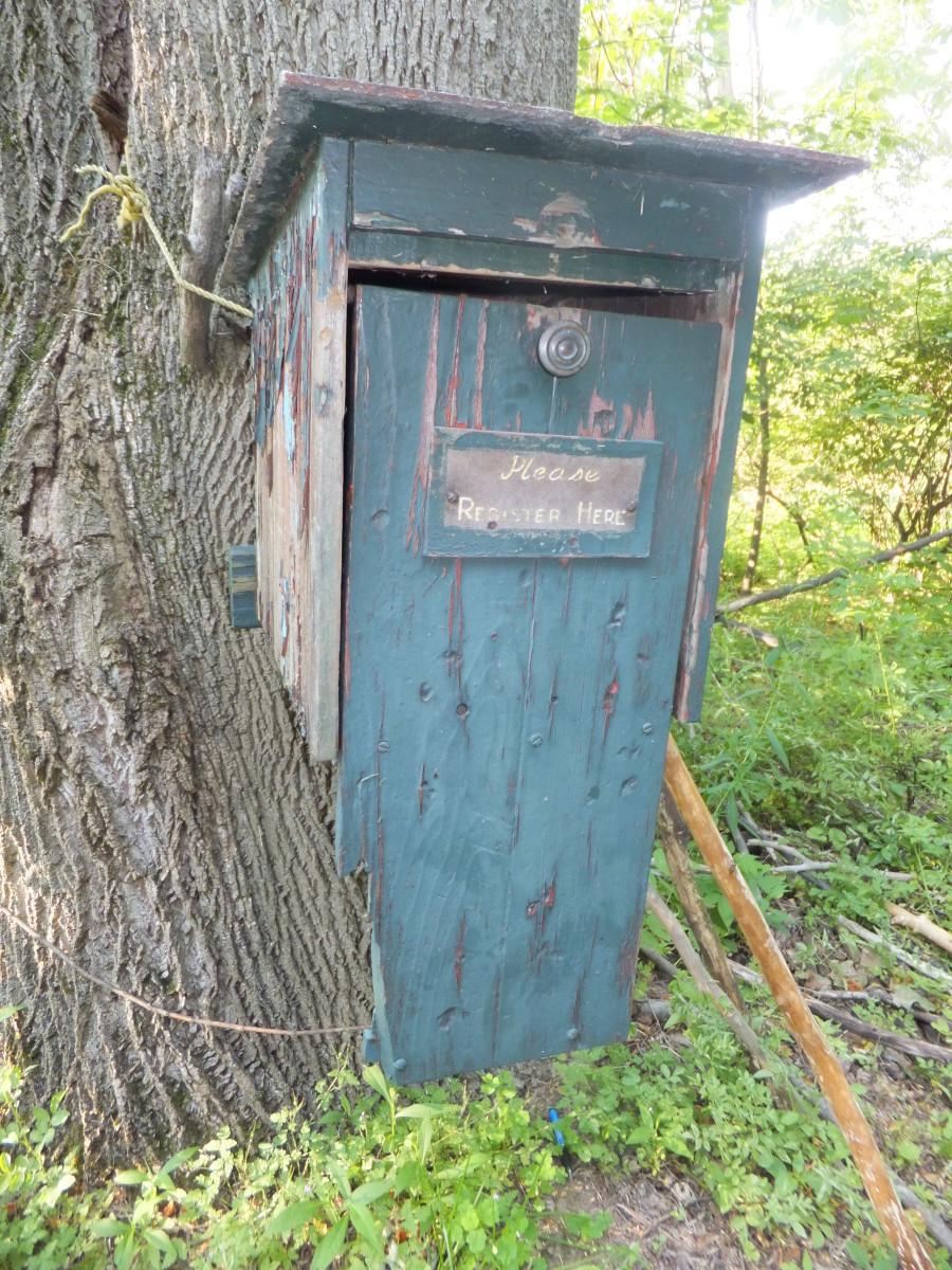 Trail register at Deerlick in Zoar Valley.