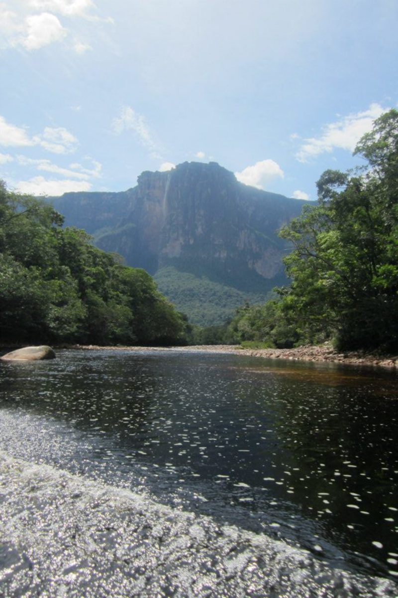 The first glimpse of Angel Falls from the river