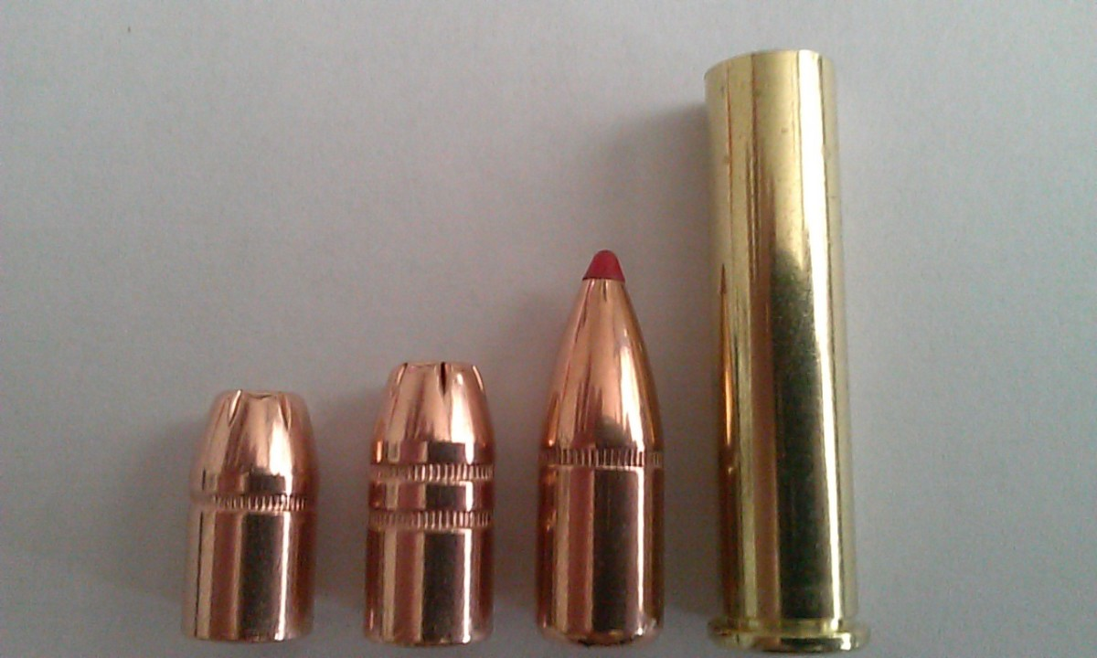 .357 caliber bullets (from left to right) 158 gr XTP, 180 gr XTP, 200 gr FTX, New 357 Rem Max casing. Bullets manufactured by Hornady.