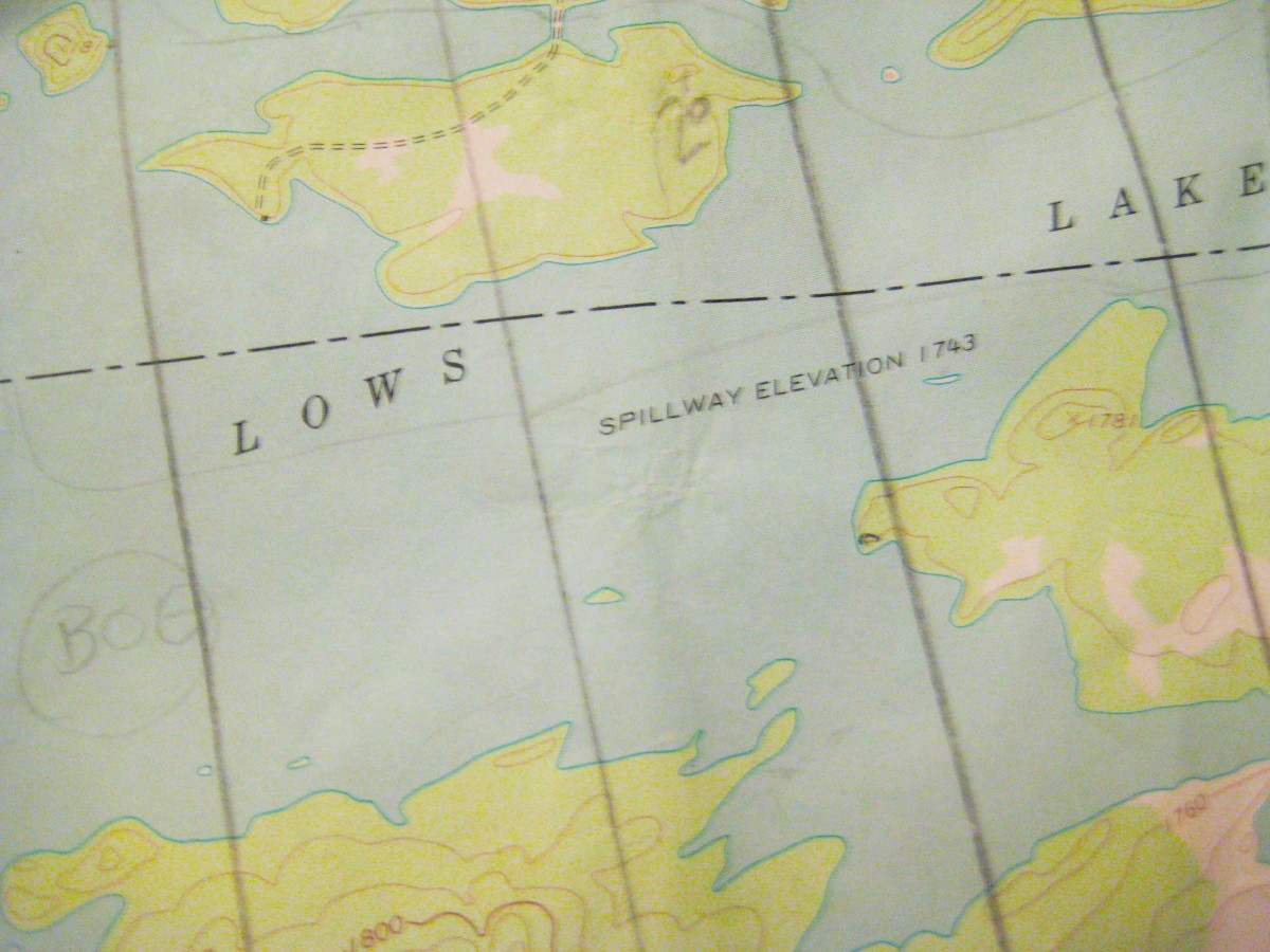 This map of Lows Lake had meridian lines drawn across it to correct for declination.