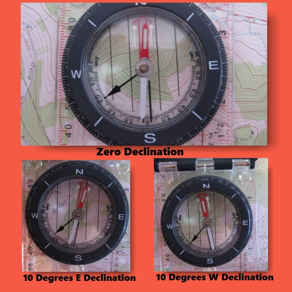 A Silva Ranger compass adjusted for declination.