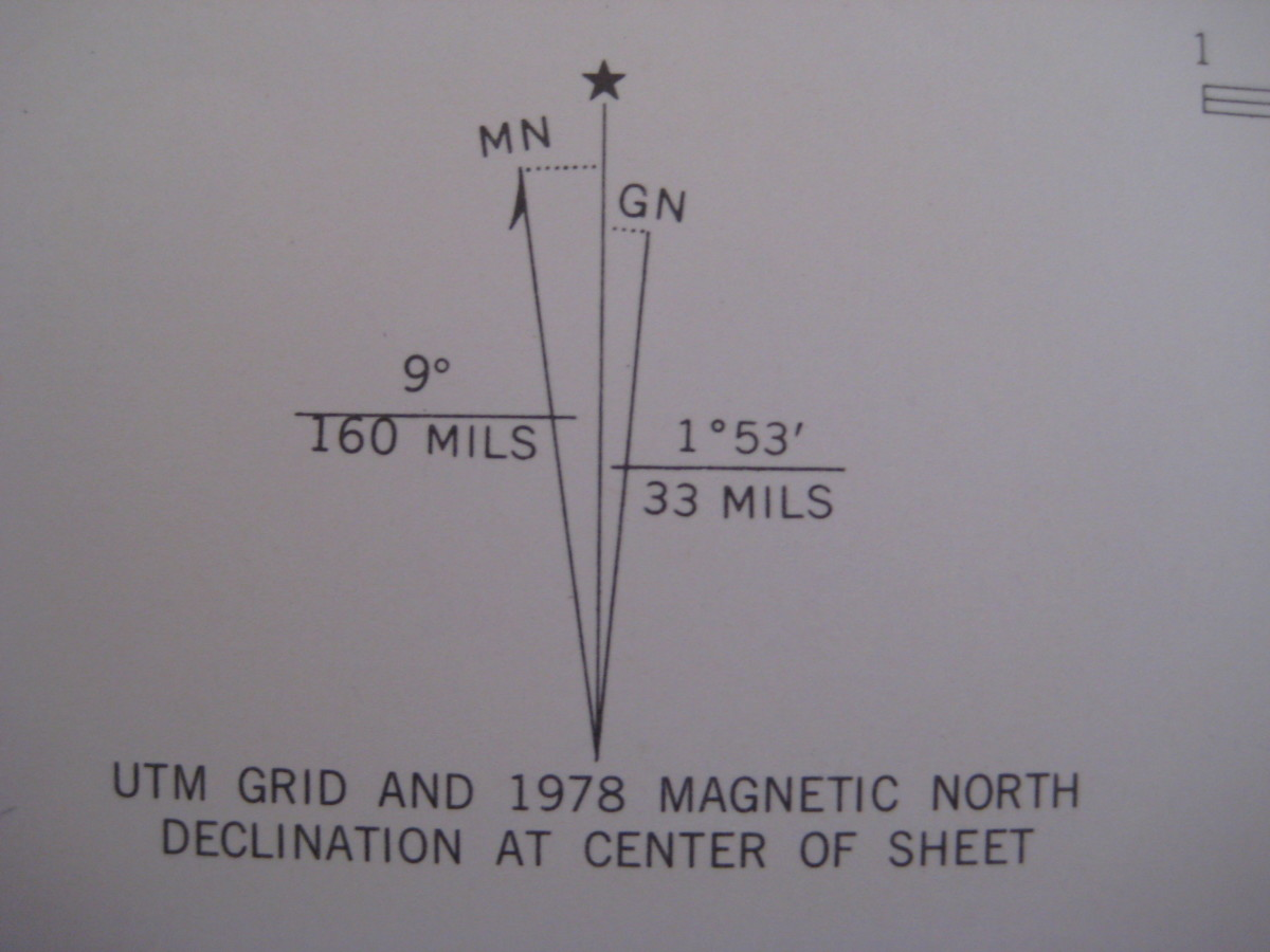The magnetic declination of this area is 9 degrees west; however, look at the publication date.