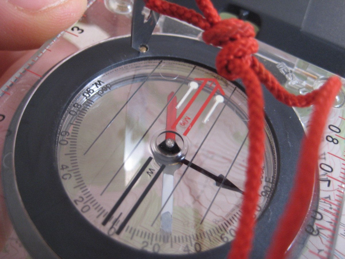 Adjusting the declination on a Silva Ranger compass.