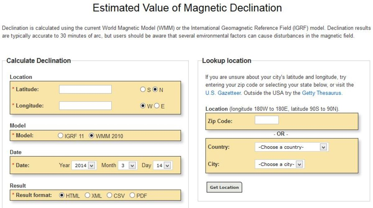 NOAA's site is an easy way to find magnetic declination values.