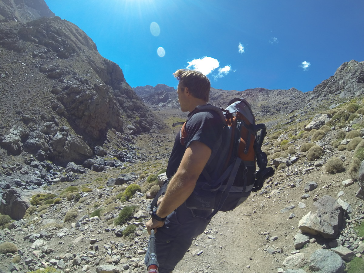 Kurt Morrison descending from the summit of Toubkal