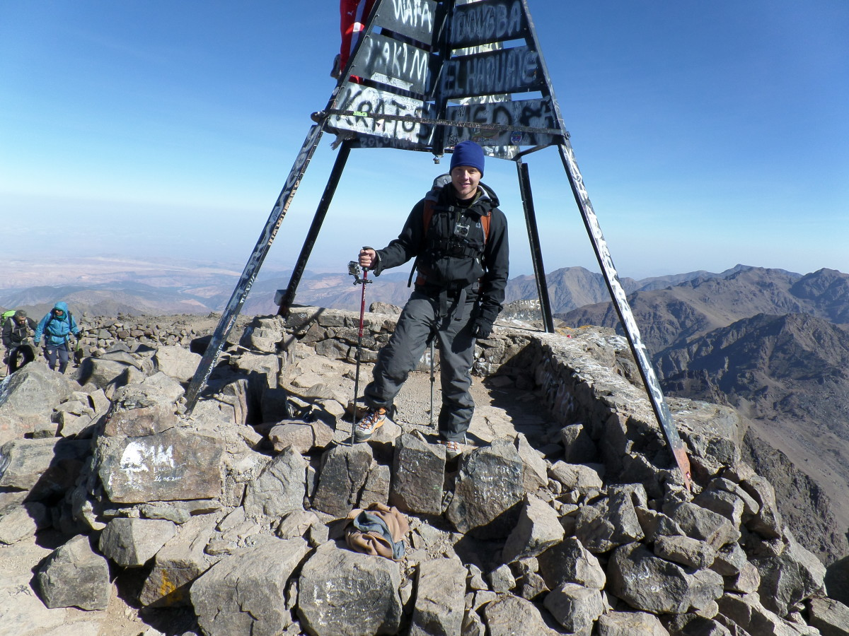 Kurt Morrison at the summit of Toubkal.  www.kurtmorrison.ca/toubkal