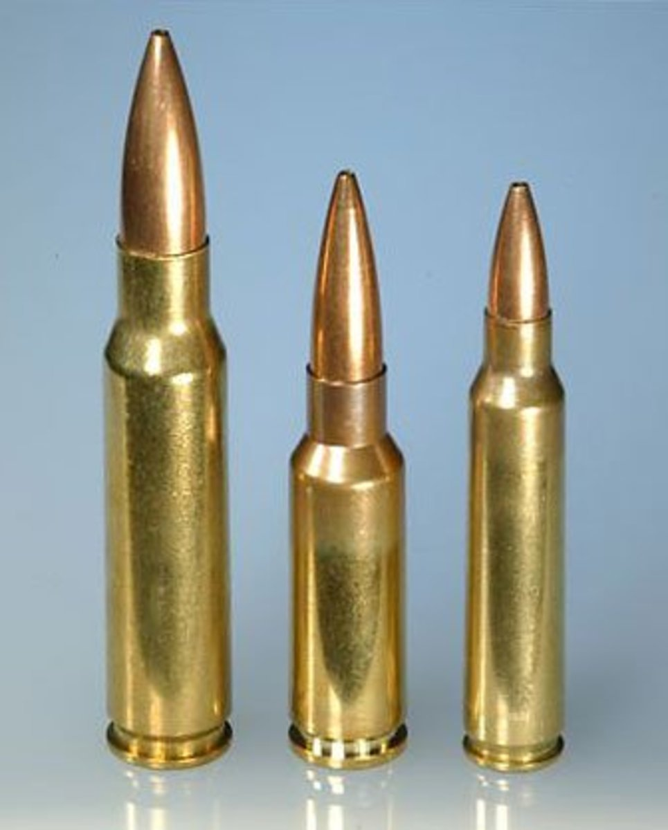 7.62x51mm (left), 6.8x43mm (center) and 5.56x45mm (right)