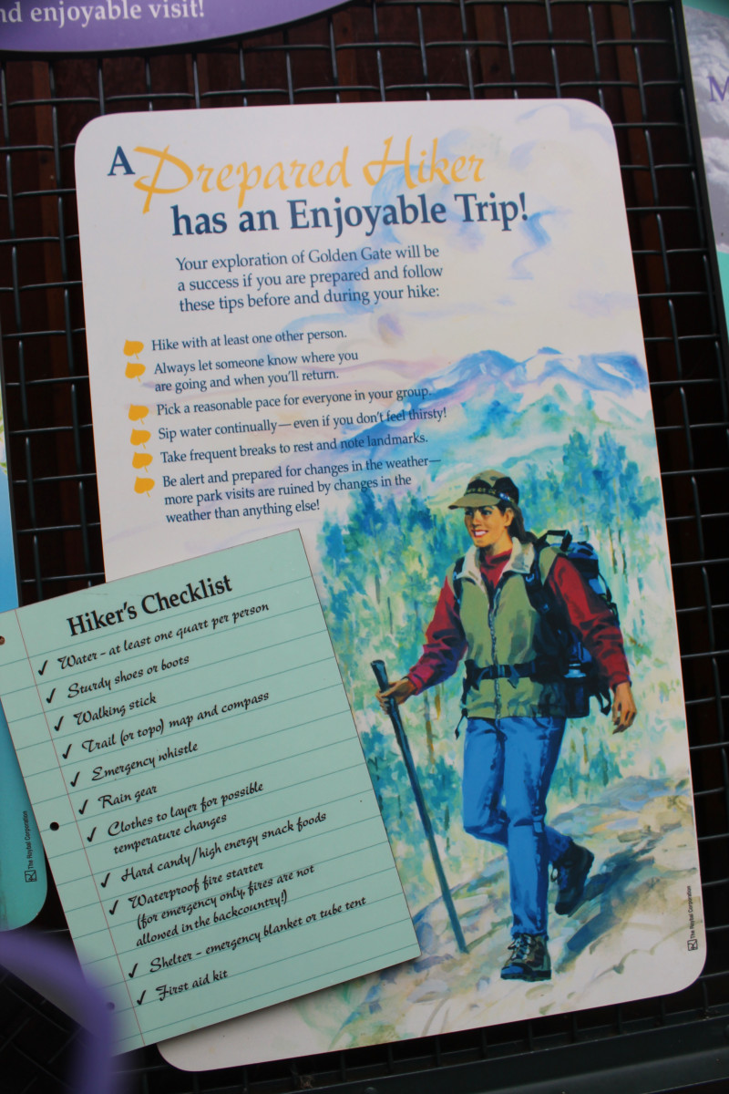The Visitor's Center at Golden Gate Canyon State Park includes this list of things a person should take on a hike to be prepared.
