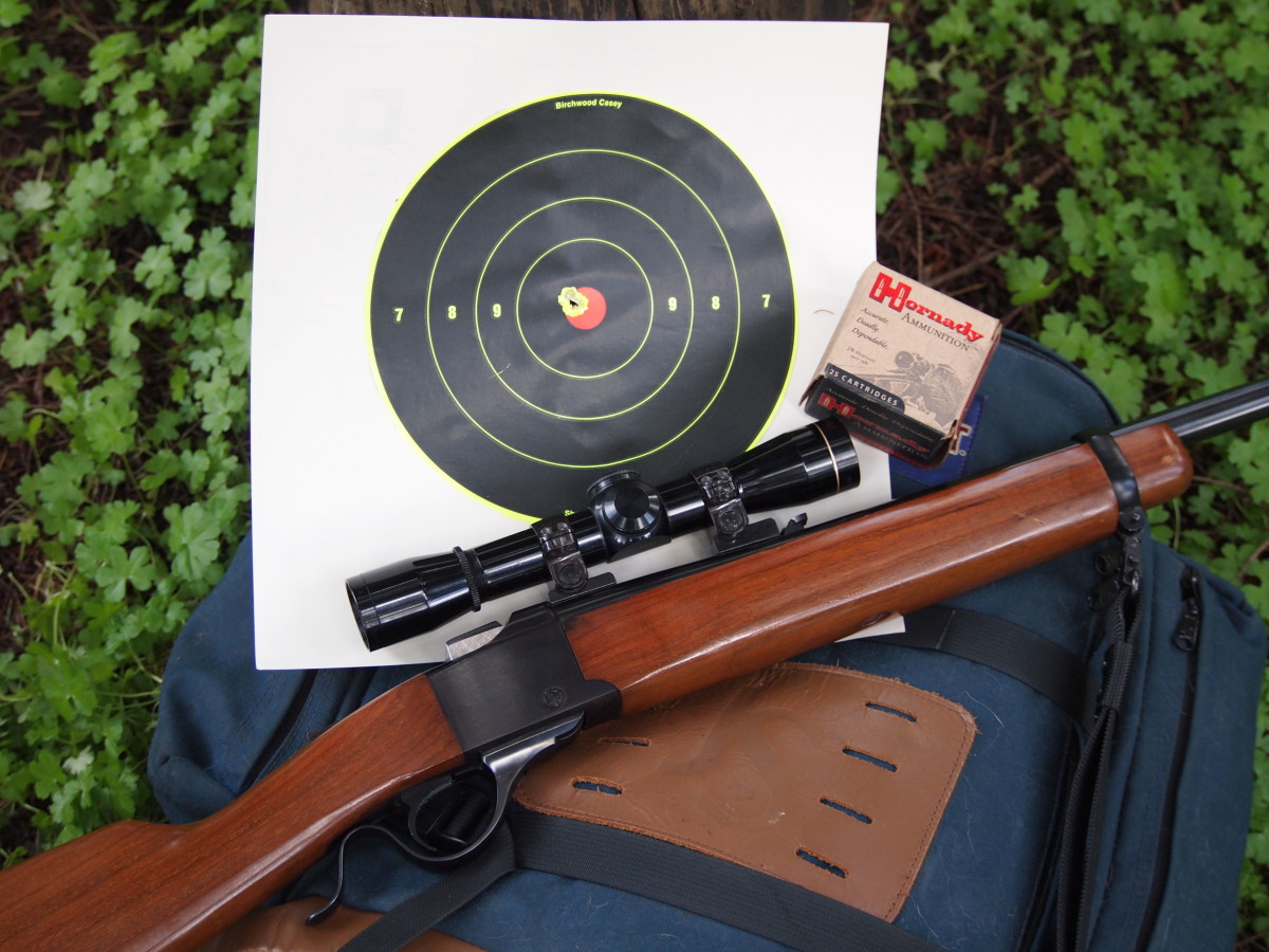 Ruger #3 single-shot in .22 Hornet, equipped with a Leupold 4X Compact scope.