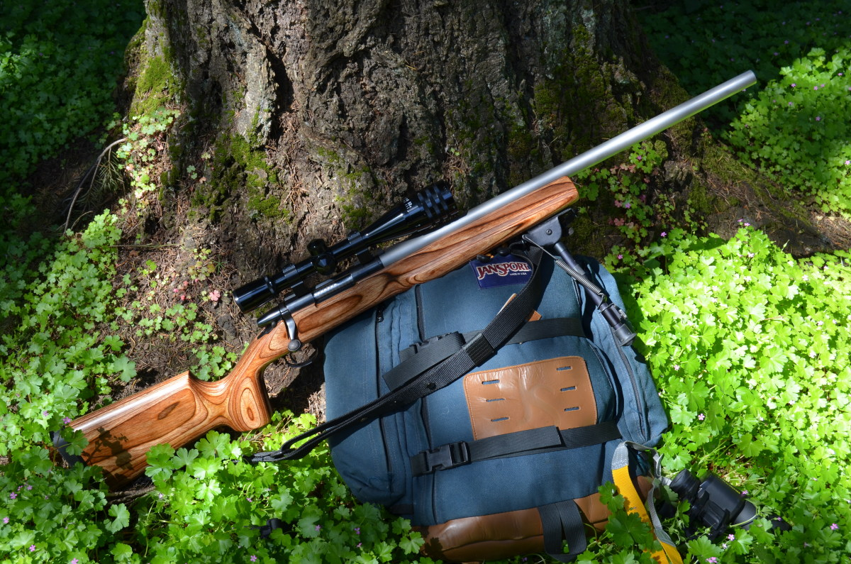 Remington Model 700BDL-V with Weaver 16X Micro-Trac scope in Warne rings and bases with Harris bipod, rebarreled in .22-250 and zeroed for 200 yards.