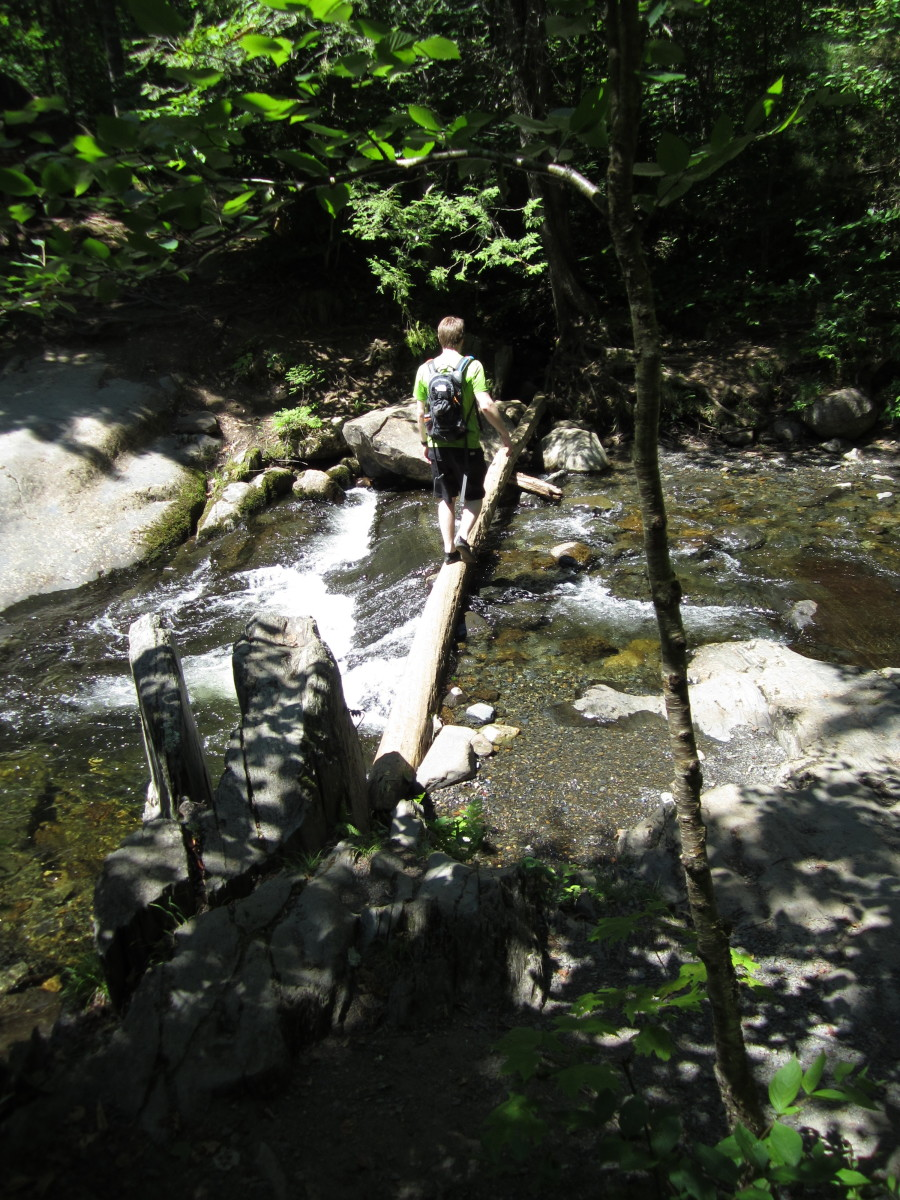 Crossing the log over Gulf Hagas Brook