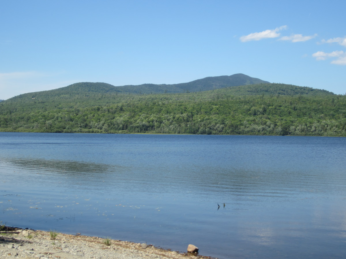 View across Silver Lake of the mountains to the east.