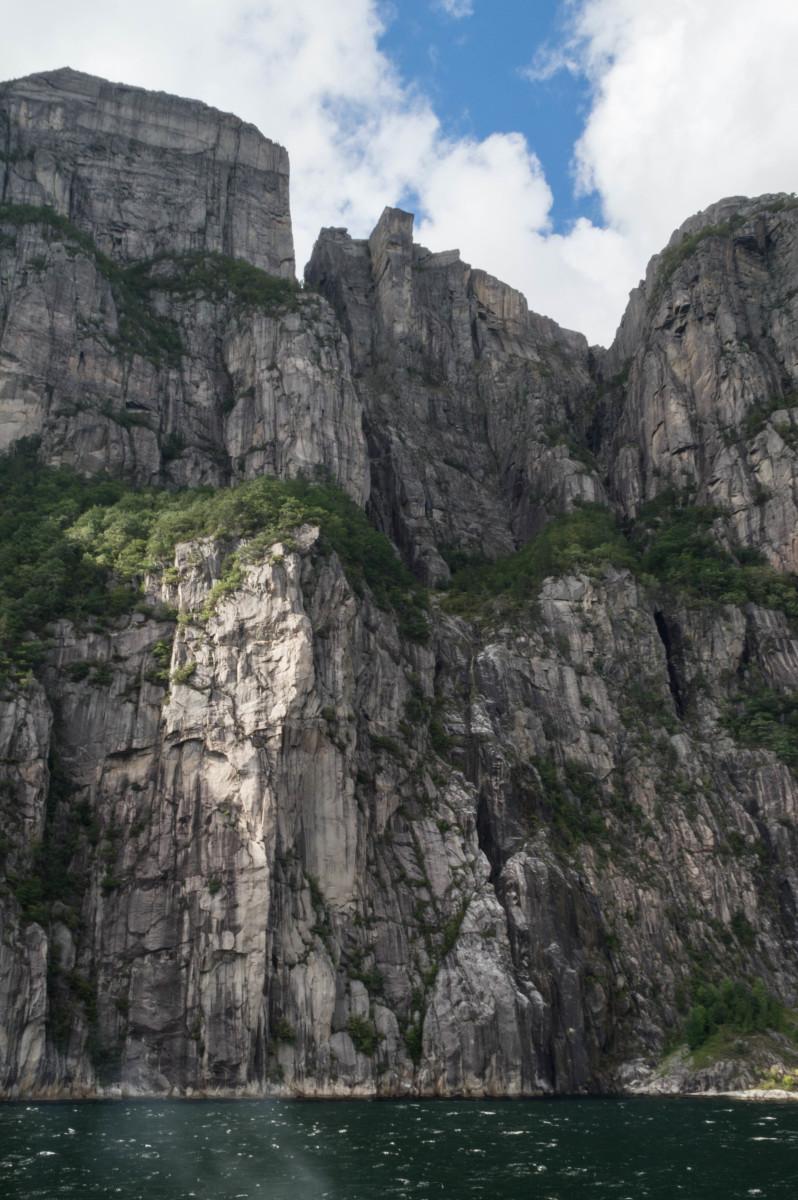 Preikestolen (Pulpit Rock) seen from below, 604m above the Lysefjorden.
