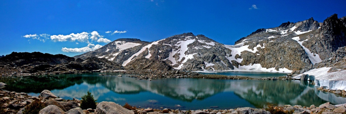 One of many alpine lakes in the Washington Cascades. Almost all lakes in the Washington Cascades are full of catchable trout. Cutthroat trout are some of the most common.