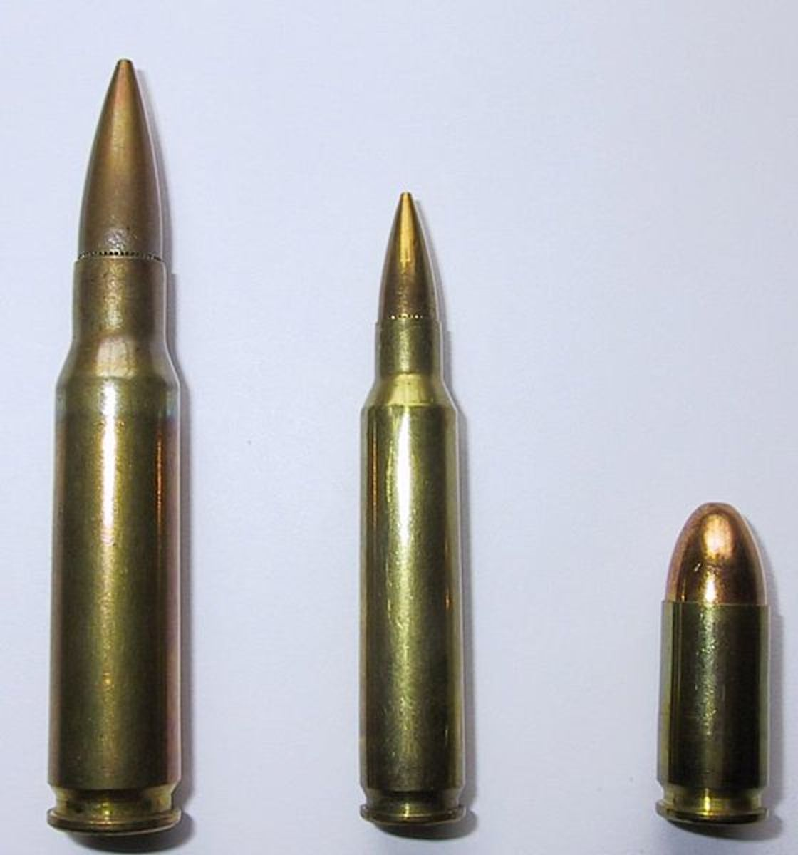 L-R: 7.62x51 NATO, 5.56x45 NATO, 9x19mm