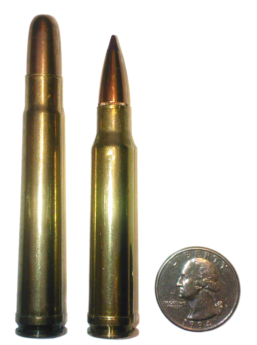 .375 H&H (L), .338 Win Mag (R), U.S. Quarter for scale