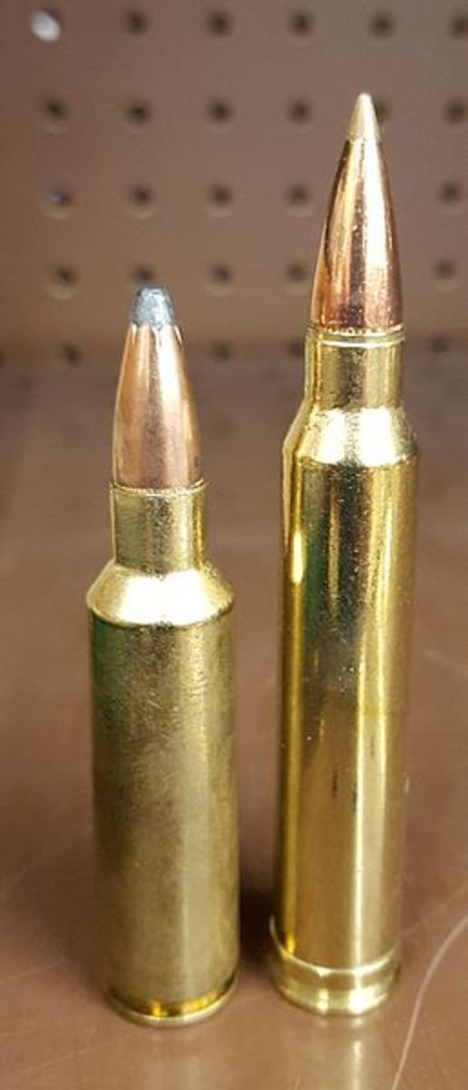 .300 Winchester Short Mag (L) Next To .300 Win Mag.
