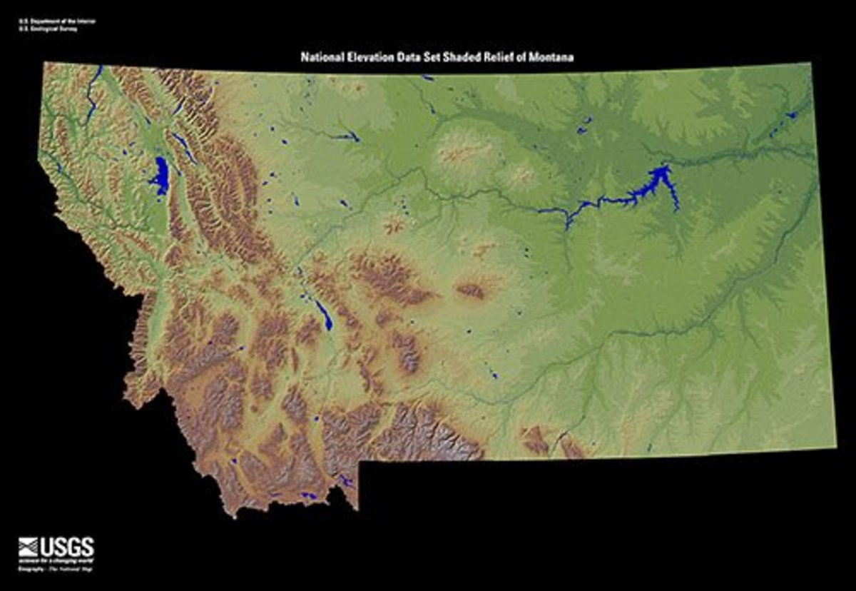 Terrain Map of Montana