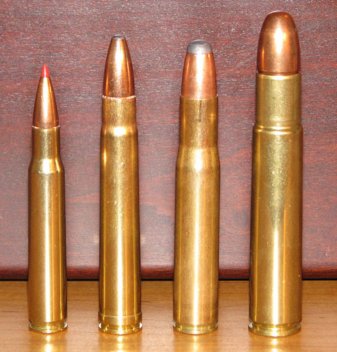(L-R): .30-06, .375 H&H, .404 Jeffery, .505 Gibbs
