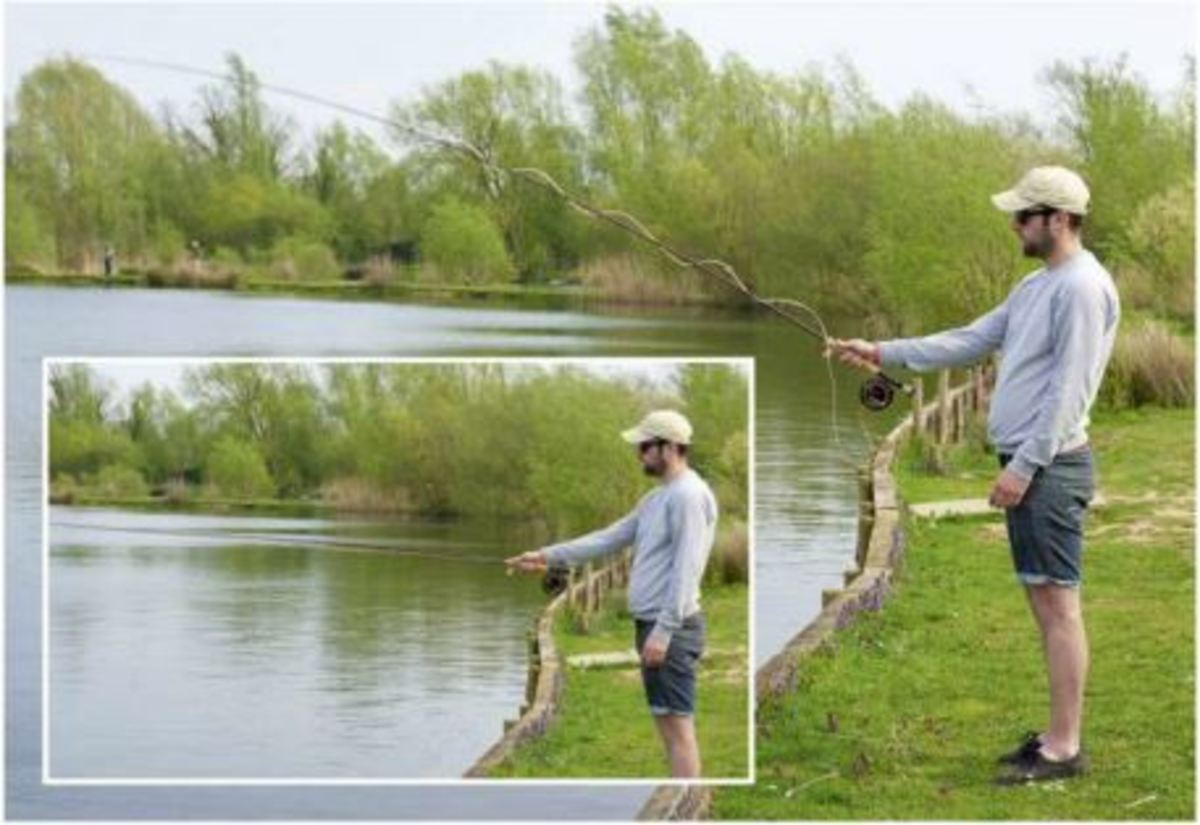 Stop the rod at about 45 degreeswhen shooting the fly-line. The inset picture is almost too low