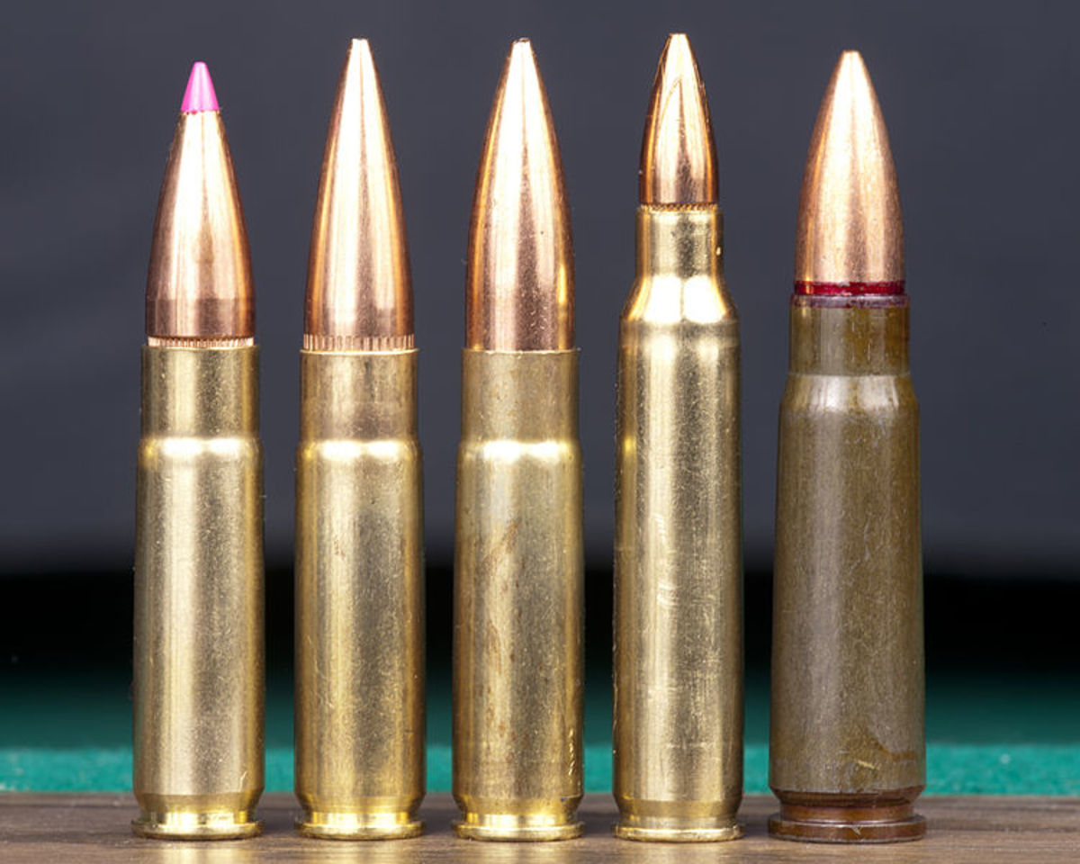 (L-R): Three .300 AAC cartridges, .223, 7.62x39mm