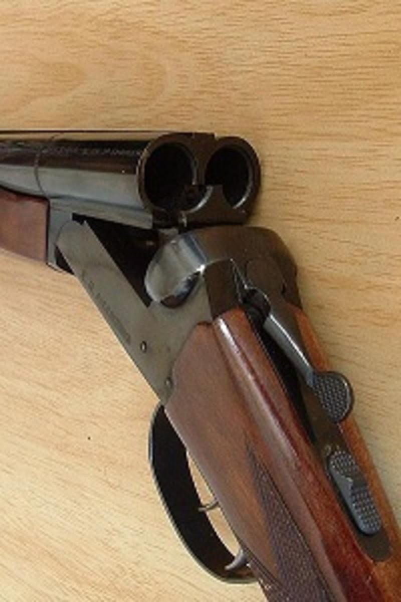 Double Barrel Break-Action Shotgun With Action Opened