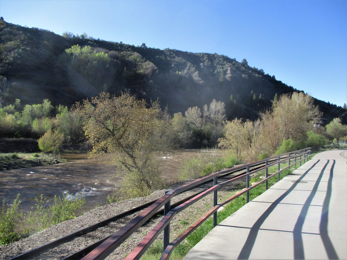 This paved concrete ribbon follows the Animas River for several miles and is popular with both walkers and bikers, photo by author