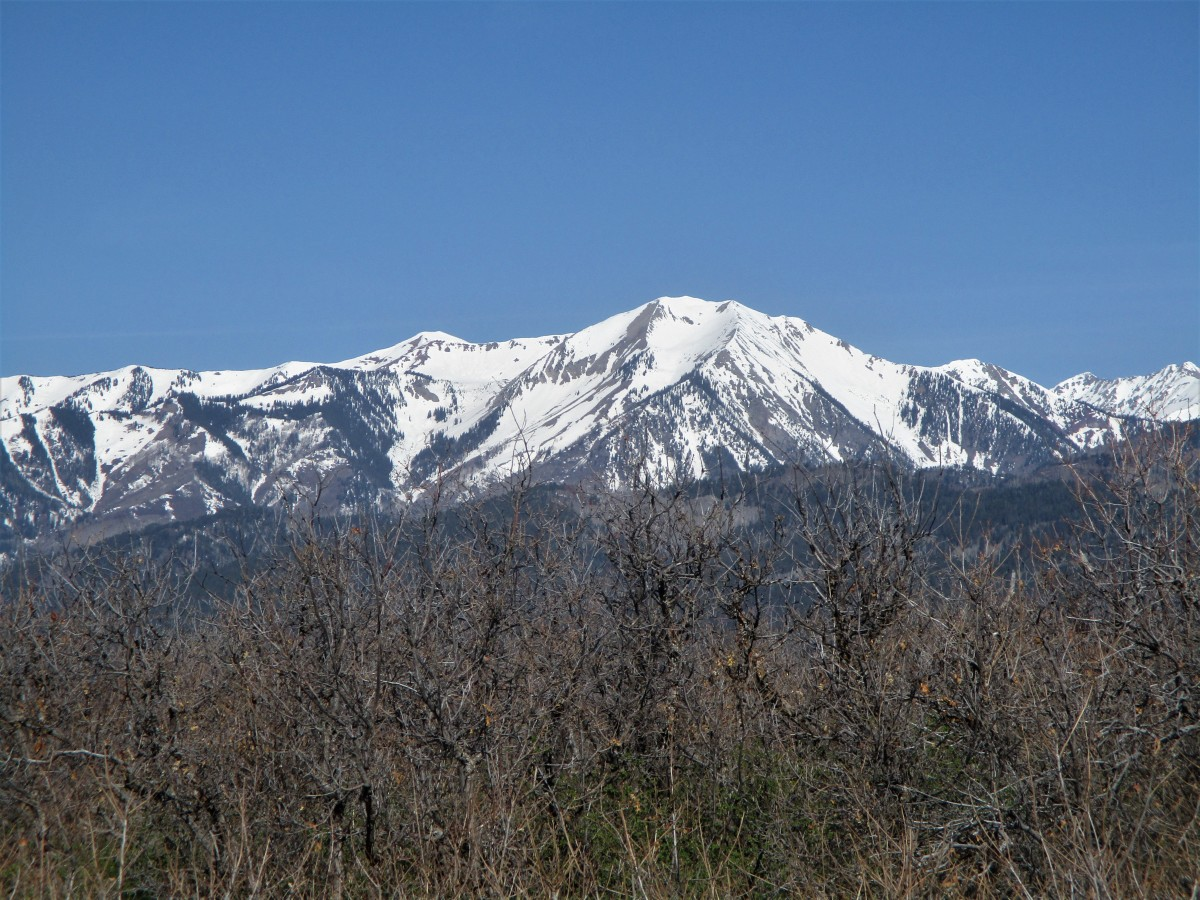 The west end loop of the Dahlas trail provides engaging springtime, views of the nearby snow-capped peaks, photo by author
