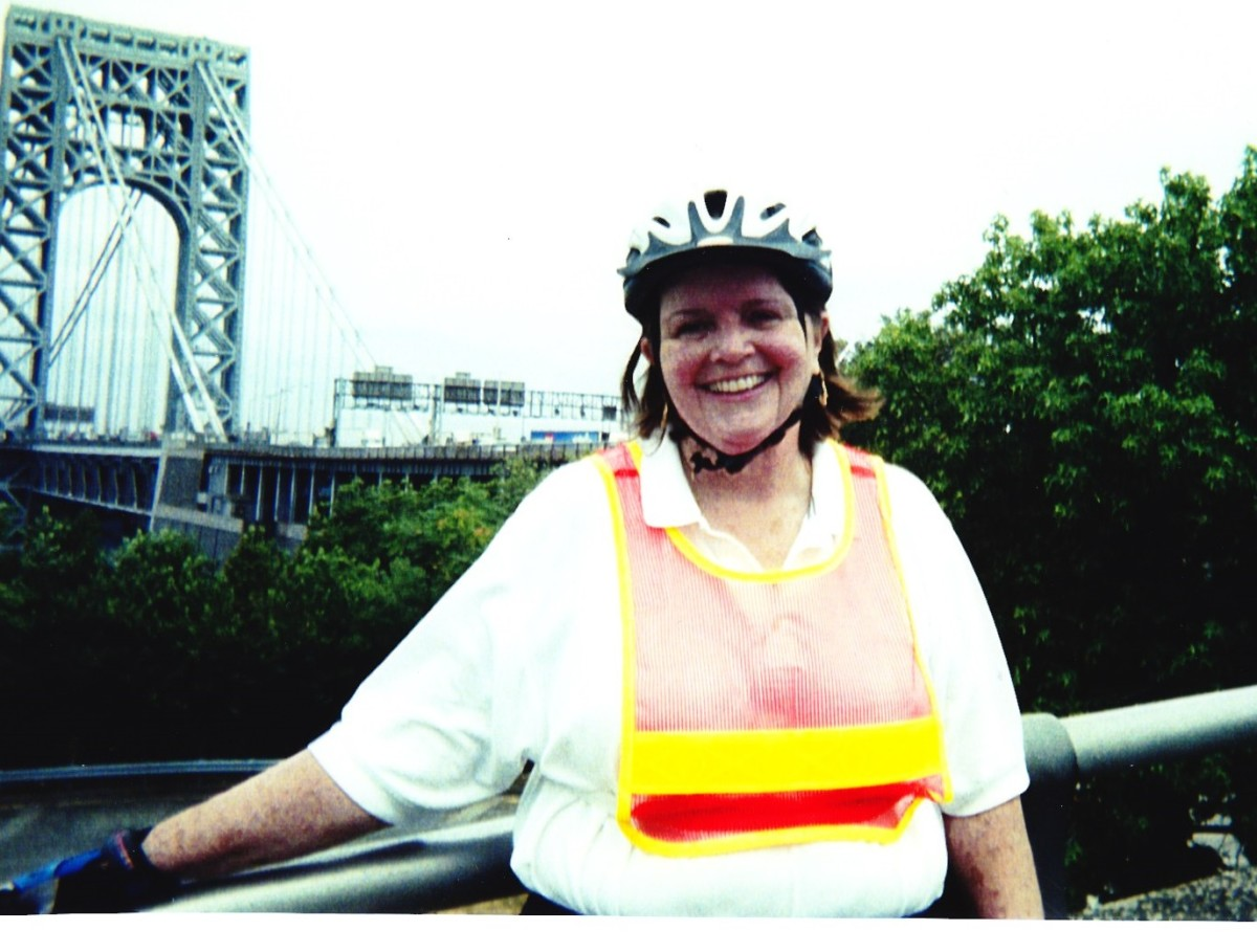 The author biking at  GW Bridge