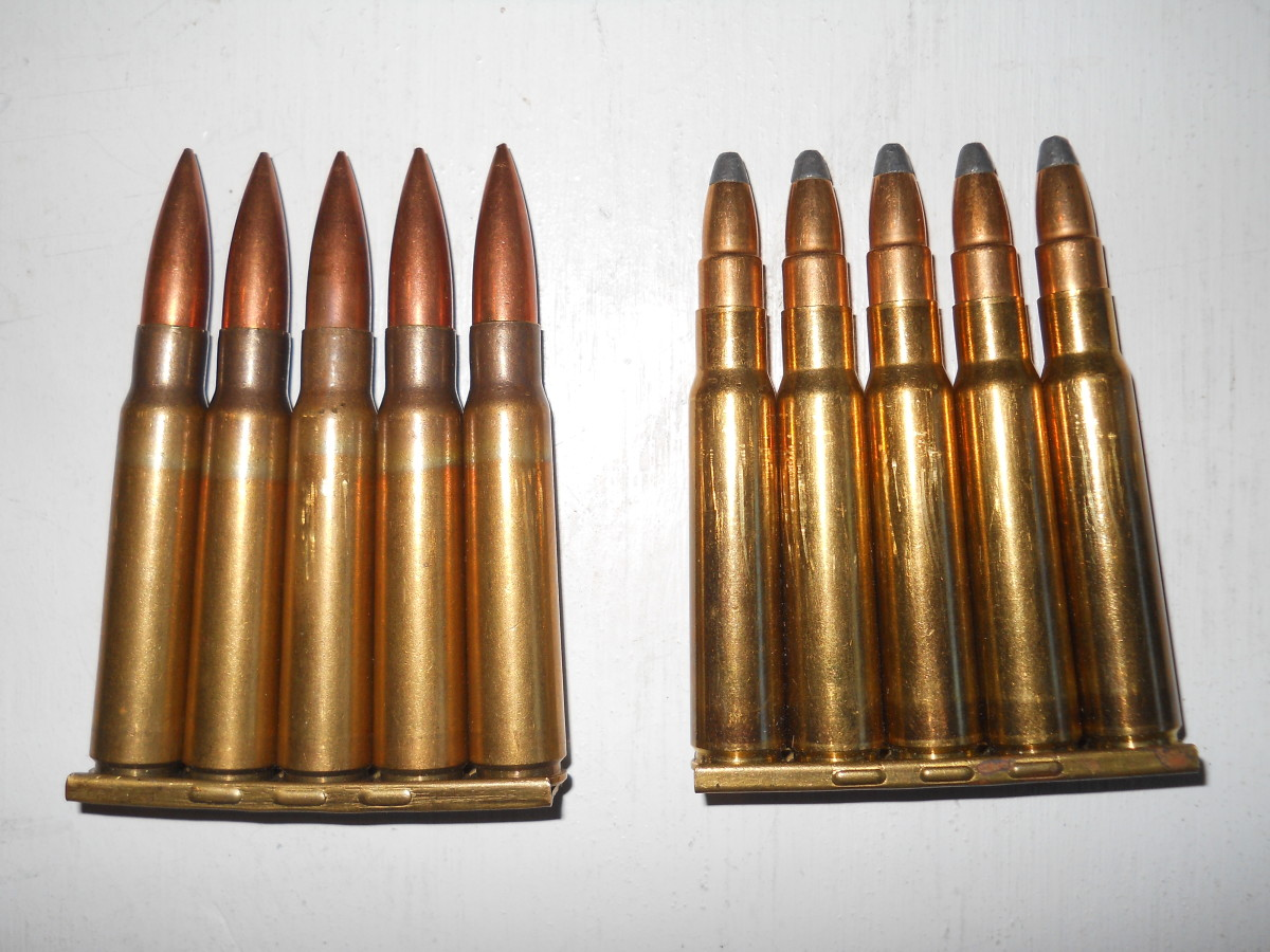 8x57 Mauser ammunition.  Yugoslav military surplus FMJ (left) and S&B soft point (right).  The soft points are preferred for hunting.