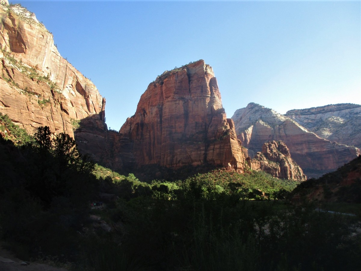 Angels Landing is a massive rock pinnacle that can be climbed on a Park Service trail that does not require technical gear, photo by author