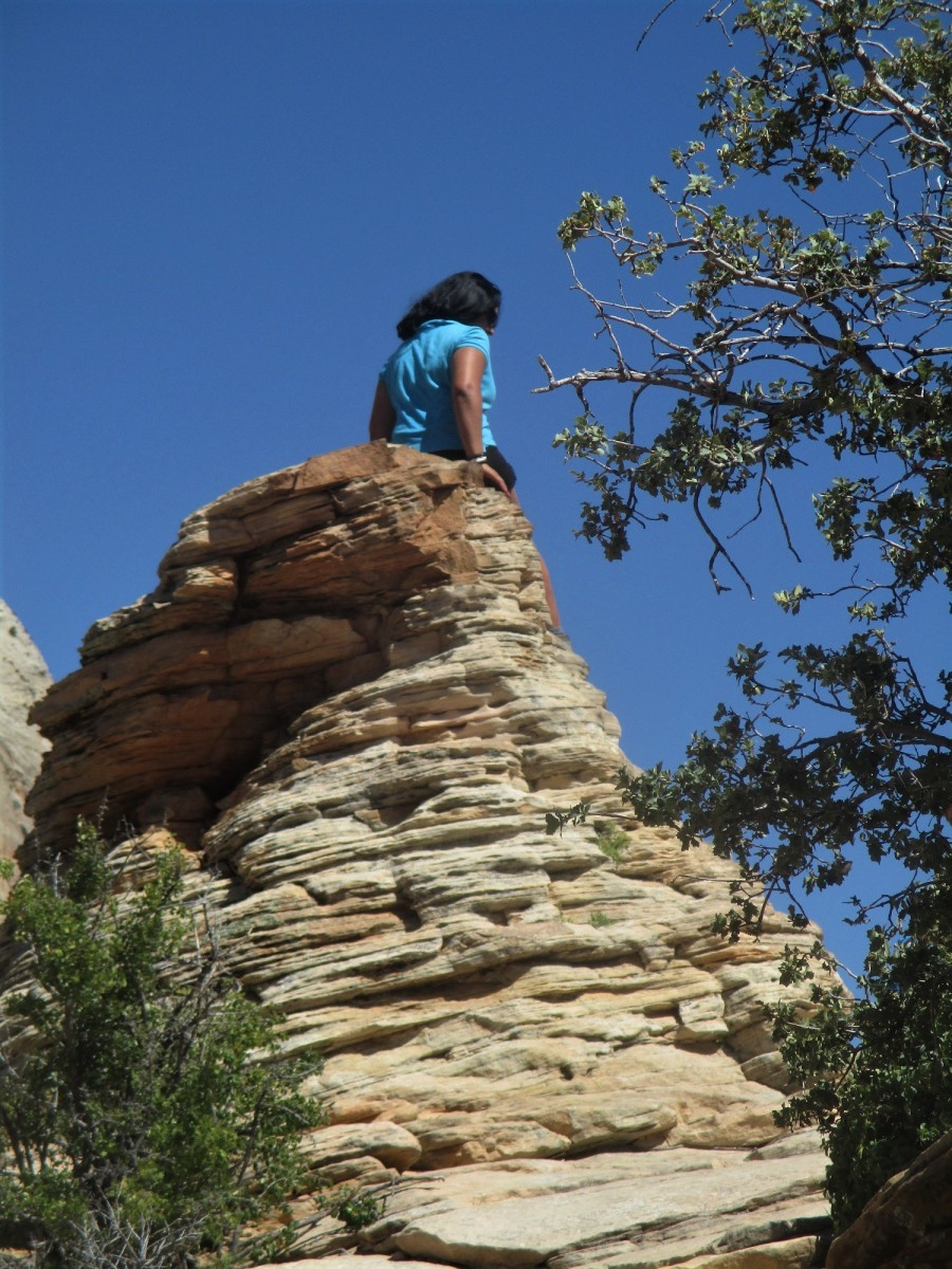 This natural rockpile is the true summit of Angels Landing. As a result climbers sometimes wait in line to have their picture taken.