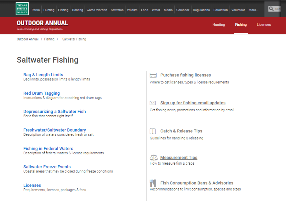 TPWD's Saltwater Fishing Regulations retrieved from http://tpwd.texas.gov/regulations/outdoor-annual/fishing/saltwater-fishing/