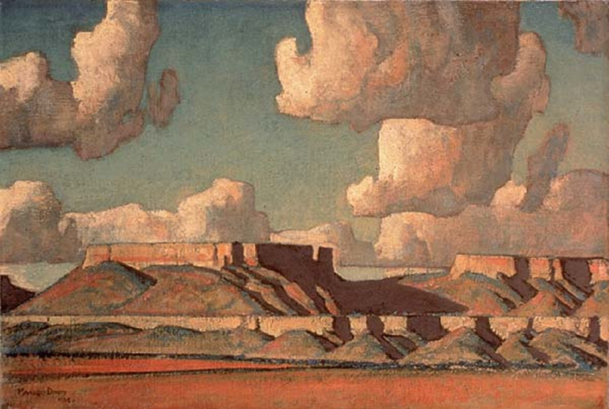 This Maynard Dixon painting depicts the prevalence of thunderheads in the Southwest desert