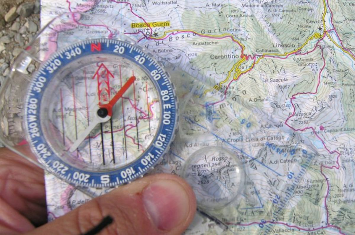A map and compass should always be carried, just in case,