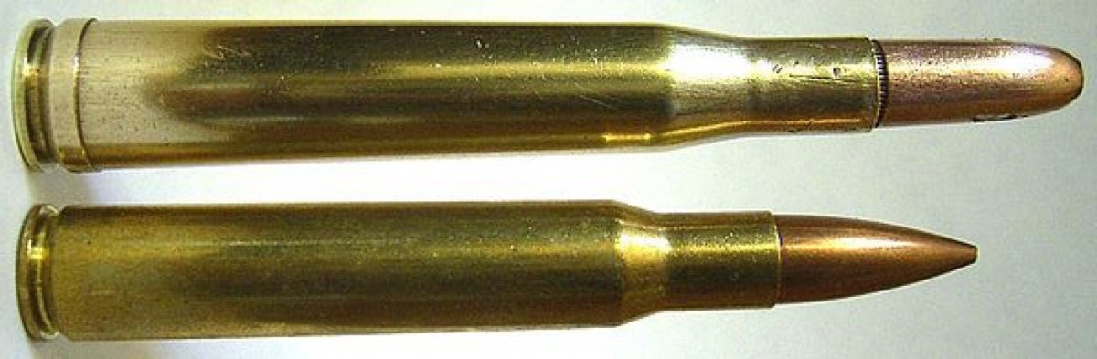 .300 H&H Magnum (top), .30-06 (bottom)