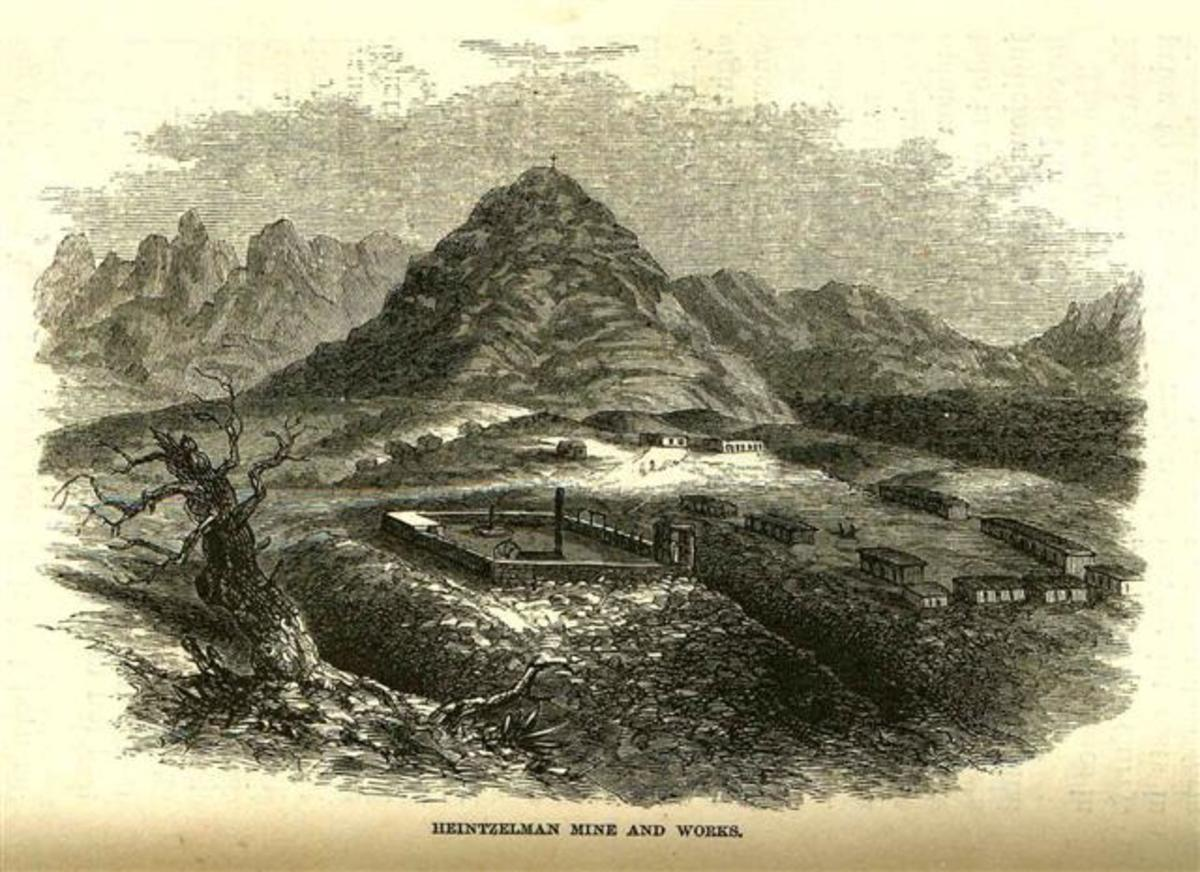 Fort Cerro and Cerro Colorado, Arizona in the United States. An 1864 drawing by John Ross Browne from his book Heintzelmen Mine and Works.