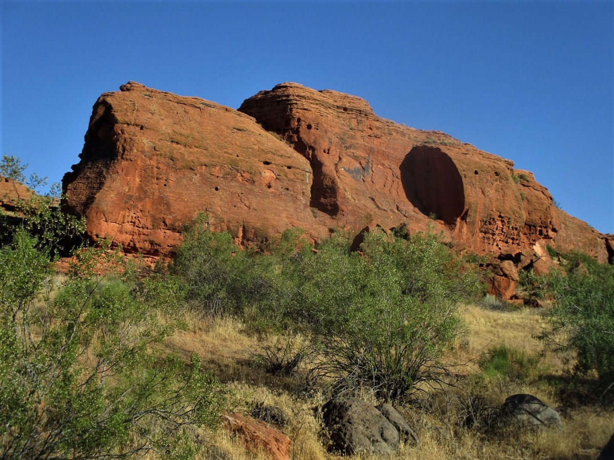 Many rock formations like the one pictured here can be found along the Chuckwalla Trail. photo by author